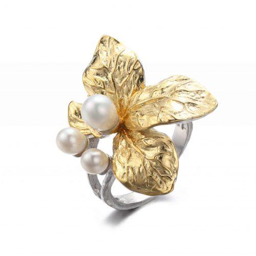 A.Messing - Verstellbarer Ring mit weißer Blume - Perle