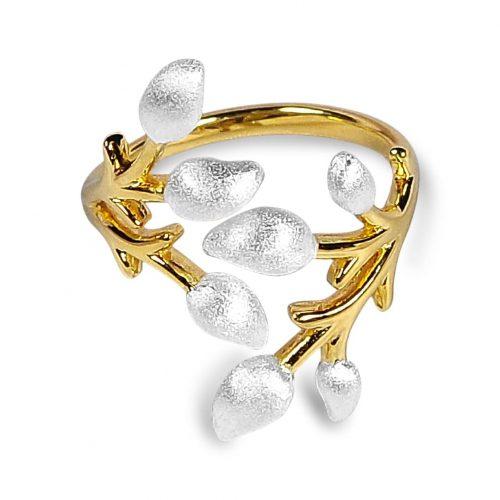 A.Brash - Verstellbarer Ring mit Blütenzweig - Ring