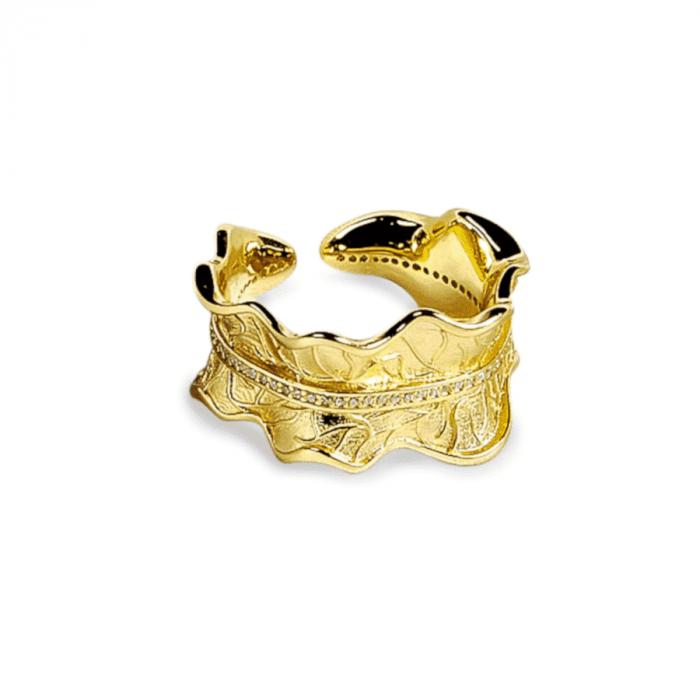 A.Brask - Bauer Rosenblatt verstellbarer Ring mit Stein - Ring
