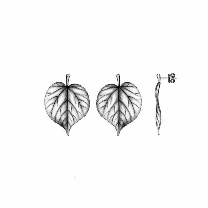 Ohrringe aus Lindenholzblättern - A.Brask